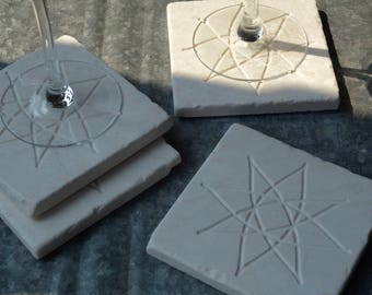 Marble Coasters/Engraved/Set of Four/Coffee Coasters/Housewarming Gift/Wedding Gift/Gift for Her/Fall Entertaining/Star