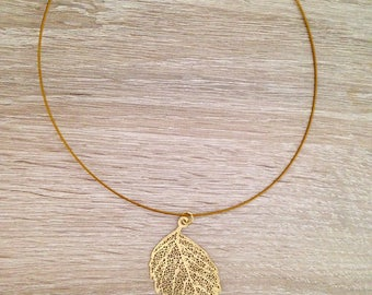 Cord necklace Choker with a Golden Feather gold filigree