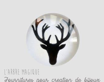 2 cabochons glue deer glass 20 mm - A385
