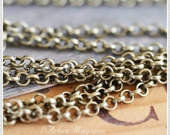 Bronze fancy Roll 4 mm link chain On the meter