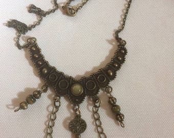 Ethnic Choker necklace with amber