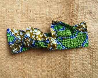 Turban baby in African fabric headband to tie for baby and girl, wax blue-green-beige