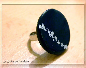 Round polymer clay and silver leaf ring