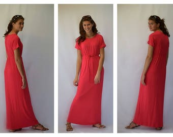 Modest Red Maxi Dress with Drawstring Waist (optional lengths)