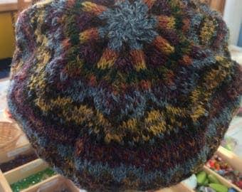 Fair isle hand knitted tam