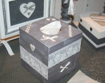 box with gray and white upon square handkerchiefs lace and heart gift idea?