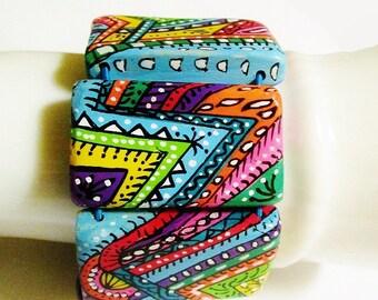 Cuff Bracelet, ethnic, wax, multicolored, handpainted on wood