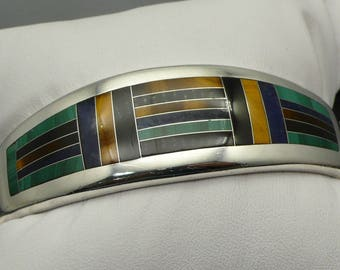 Heavy Sterling Silver Hinged Bangle Bracelet Inlay with Tiger's Eye, Onyx, Malachite, and Lapis Lazuli signed TM 201 Mexico