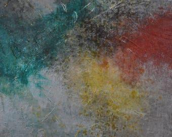 grand wall art, peinture abstraite, déco, Art contemporain, acrylique, mural wall decor, vert, rouges, jaune,art de toile, mixed médium