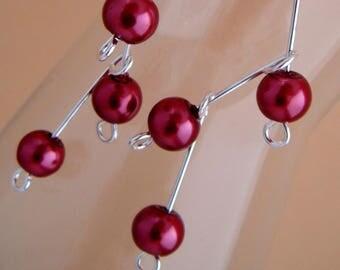 Earrings 'cascade beads' Burgundy renaissance, silver metal