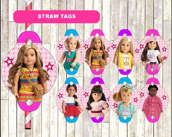 American Doll Girl straw tags instant download, Printable American Doll Girl party straw tags, American Doll Girl straw toppers