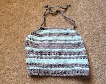 Striped Crochet Halter Top