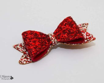 Red party hair bow