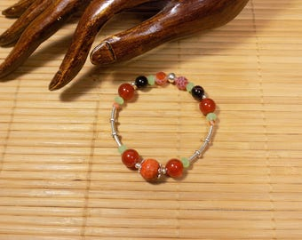 Orange fire agate and green quartz 925 sterling silver bracelet