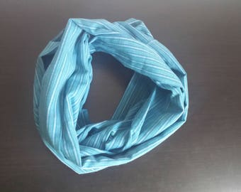 Striped blue infinity scarf