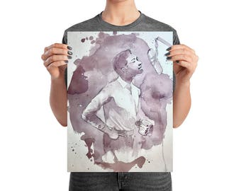 Sam Cooke - Wine on Watercolor - Poster