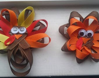 Thanksgiving Bow / Turkey / Bow / headband / Gift / Holiday / photo prop / baby / toddler / kid / free shipping