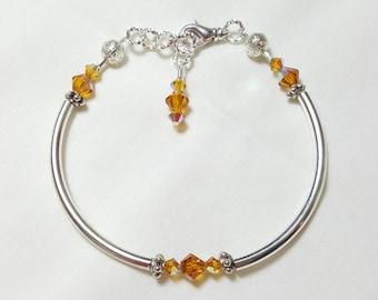 Golden Topaz Crystal Bangle Style Bracelet