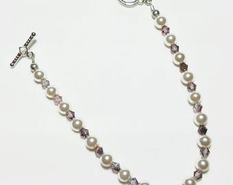 Blush Pink Pearl Dark Pink Crystal Wedding Bridal Beaded Bracelet