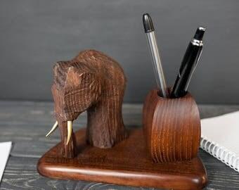 Pencil Holder Wood Mammoth Desk Organizer Wood Office Supplies Wood School Supplies Teacher