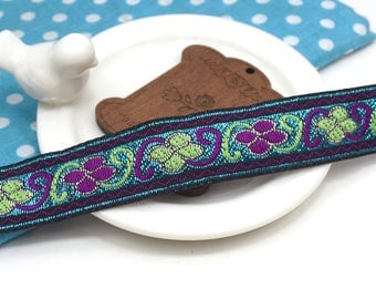 1 meter Ribbon embroidered ethnic glittery blue green purple lace 2 cm