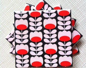 Handmade Set Of 4 Ceramic Coasters Orla Kiely Black Tulip Stem Drinks Mats Mugs Home Decor Housewarming Gift Christmas Present Multi Stem