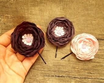 Cute Hairstyle Flower Hair Clips, Handmade Purple and Pink Bobby Pins, Romantic Bridal Hairpins, Chic Bridesmaid Hair Pieces
