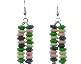 Dangling earrings light green pink beige multi color ultra wood beads