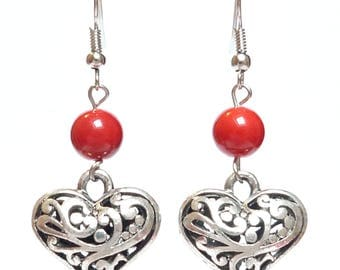 Bright red bead and Silver Heart Earrings