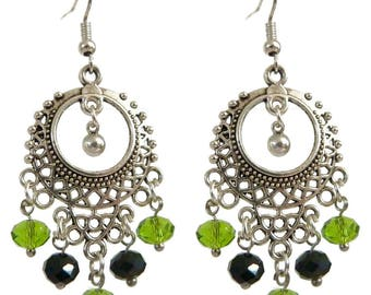 Women pendant ethnic gypsy Green Black Silver ring earrings