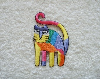 Cute Rainbow Cat Iron On Patch Cat Embroidered Applique Patches For Jackets
