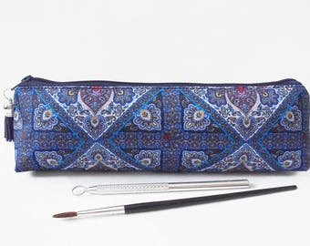 Art gifts, paisley scarf inspired, mascara bag, pencil pouch, brush bag, art gift, student gift, teacher gift, pen pouch, sewing pouch.