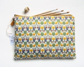 Gifts for her, Wash bag, birds and leaves, travel bag, cosmetic bag, zip bag, make up bag, large makeup bag.