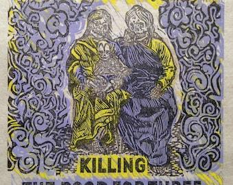 "Handmade Anarchist Woodcut Linocut Calavera Skeleton ""Do they owe us a living?"" agitprop"