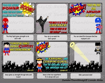 Bible Verse Lunch Notes Superhero - Superhero Lunch Notes - Lunchbox Spiritual Nutrition