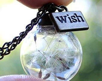 Dandelion,Wish,necklace,silver,charm,pendant,chain,jewelry,globe,glass,flower,charm