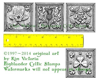 Woodcut-style Celtic Flowers set of 4 Unmounted Rubber Stamps #449