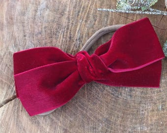 Large hand tied - velvet bow for babies, toddlers and little girls in deep red - ADDILYN style