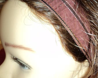 Shiny synthetic washable Maroon stripe headband