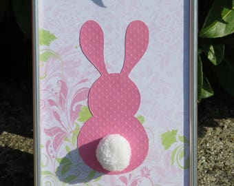 "Deco frame for child's room ""my little bunny"" colors: soft pink, white, pale green, and tassel"