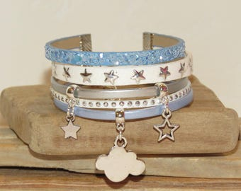 "Cuff Bracelet, multi-row, blue, white, silver, for teens ""In the clouds"" leather, glitter, suede, stars,"