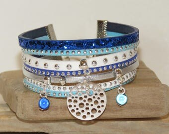 """Cuff Bracelet """"bubbles"""" leather with glitter, studded Suede, white, Royal Blue, turquoise and silver color"""