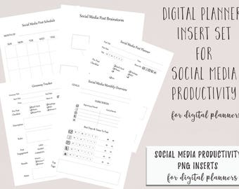 Digital Planner or Digital Journal Social Media Productivity Inserts for Goodnotes | iPad Digital Planner Inserts | Digital Journal Inserts
