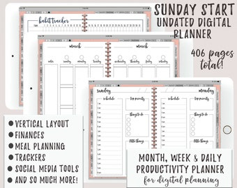 Sunday Start Undated iPad Digital Planner   Productivity Based With Functional Tabs   Weekly Daily Spread   Social Media Tools   Goodnotes  