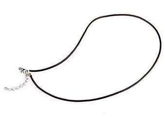 Black waxed cord for necklace / pendant - 45 cm