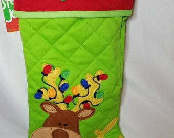 Personalized Kids Reindeer Christmas Stocking, Reindeer Christmas Stocking