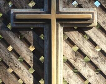 Triple Wooden Cross, Whitewashed Cross, Rustic Cross, Cross Wall Cross, Decorative Wall Cross, Reclaimed Wooden Cross