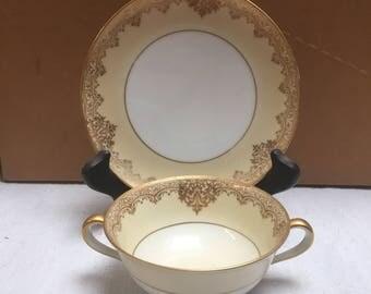 Noritake Flat Cream Soup Bowl and Saucer