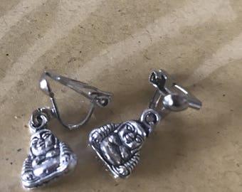 Clip on buddha earrings