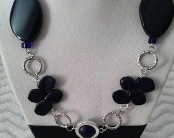 Silver necklace with semi - precious stone